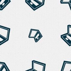 Laptop icon sign seamless pattern with geometric vector