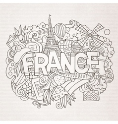 France country hand lettering and doodles elements vector