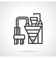 Cement factory machinery simple line icon vector
