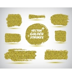 Set of hand made golden strokes vector