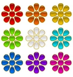 Colorful buttons set flowers vector