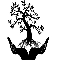 Hand tree silhouette vector