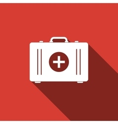 First aid box icon with long shadow vector