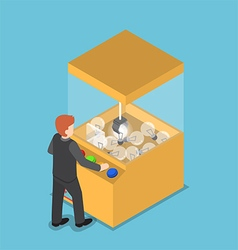 Isometric businessman getting glowing light bulb vector
