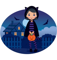 Little girl in cat costume halloween vector