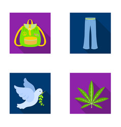 a cannabis leaf a dove jeans a backpackhippy vector image
