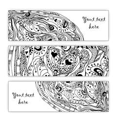 Abstract hand drawn heart pattern card set Series vector image