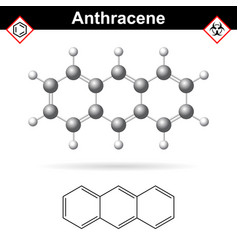 anthracene chemical molecule polycyclic aromatic vector image vector image