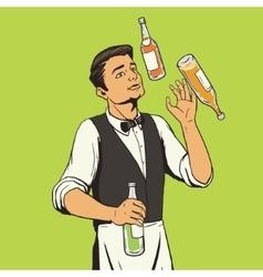 Bartender juggling bottles pop art style vector image