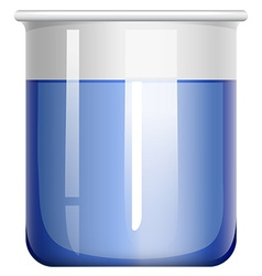 Beaker with blue substance vector
