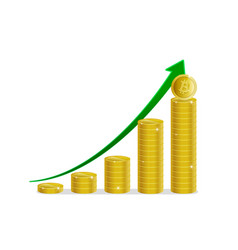 bitcoin financial growth stacks of gold coins vector image vector image