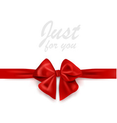 blank greeting card with red gift ribbon and bow vector image vector image