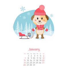 Calendar 2018 months january with dog vector