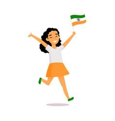 Cartoon indian girl running with little indian vector