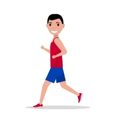 Cartoon man running jogging vector