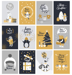 collection of twelve colourful christmas pictures vector image vector image