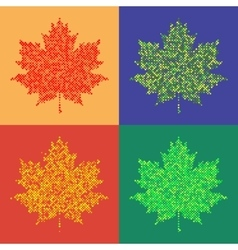 Colorful maple leaves isolated halftone autumn vector