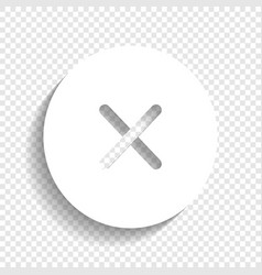Cross sign white icon with vector