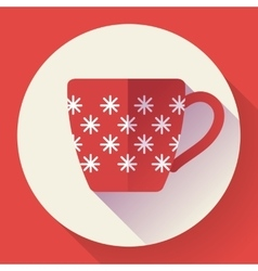 Cup icon with snowflakes vector image vector image