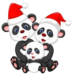 Cute panda family cartoon wearing red hat vector