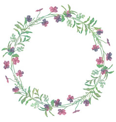 Drawn watercolor greenery wreath vector