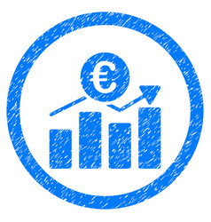 Euro business chart rounded icon rubber stamp vector