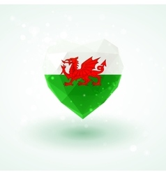 Flag of wales in shape diamond glass heart vector