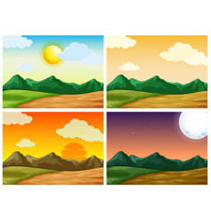 Four countryside scenes at different time of day vector