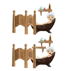 Funny cartoon girl and boy lies in bathtub vector