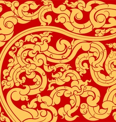 Gold art pattern on red vector