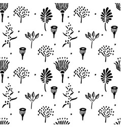 Hand drawn simple plant seamless pattern sketch vector