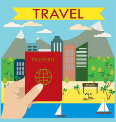 Hand holds a passport in the background beach city vector