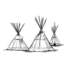 Hand sketch wigwams vector image