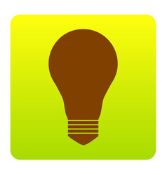 Light lamp sign brown icon at green vector