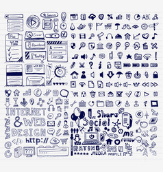 mega collection of hand drawn universal internet vector image vector image
