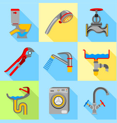 Plumbing trouble icons set flat style vector