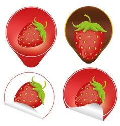 red ripe strawberry with leaves vector image