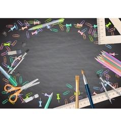School supplies on blackboard background EPS 10 vector image