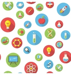 Seamless pattern with science icons vector image