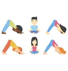 Set of men and women practicing yoga vector