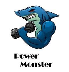 Shark athlete with dumbbells vector image vector image