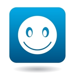 Smiling emoticon icon simple style vector image