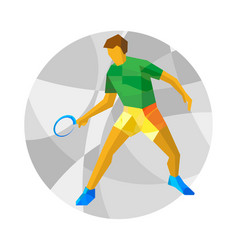 Table tennis player with abstract patterns on gray vector