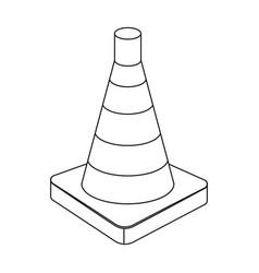 Traffic cone icon in outline style isolated on vector