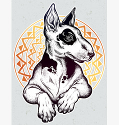 vintage style bull terrier in flash art tattoos vector image vector image