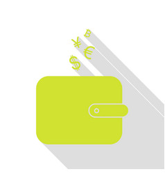 Wallet sign with currency symbols pear icon with vector