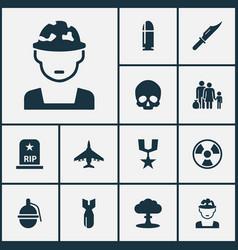 warfare icons set collection of slug cranium vector image vector image