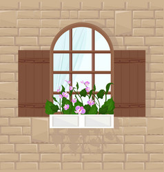 window of a brick house background front vector image vector image