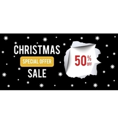 Christmas sale banner on black background with 50 vector