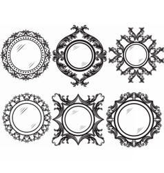 Set of vintage retro round frames vector